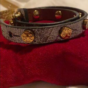 Grey metallic Tory Burch wrap bracelet